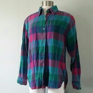 Tops - Light Flannel Shirt Magenta Aqua Green Blue
